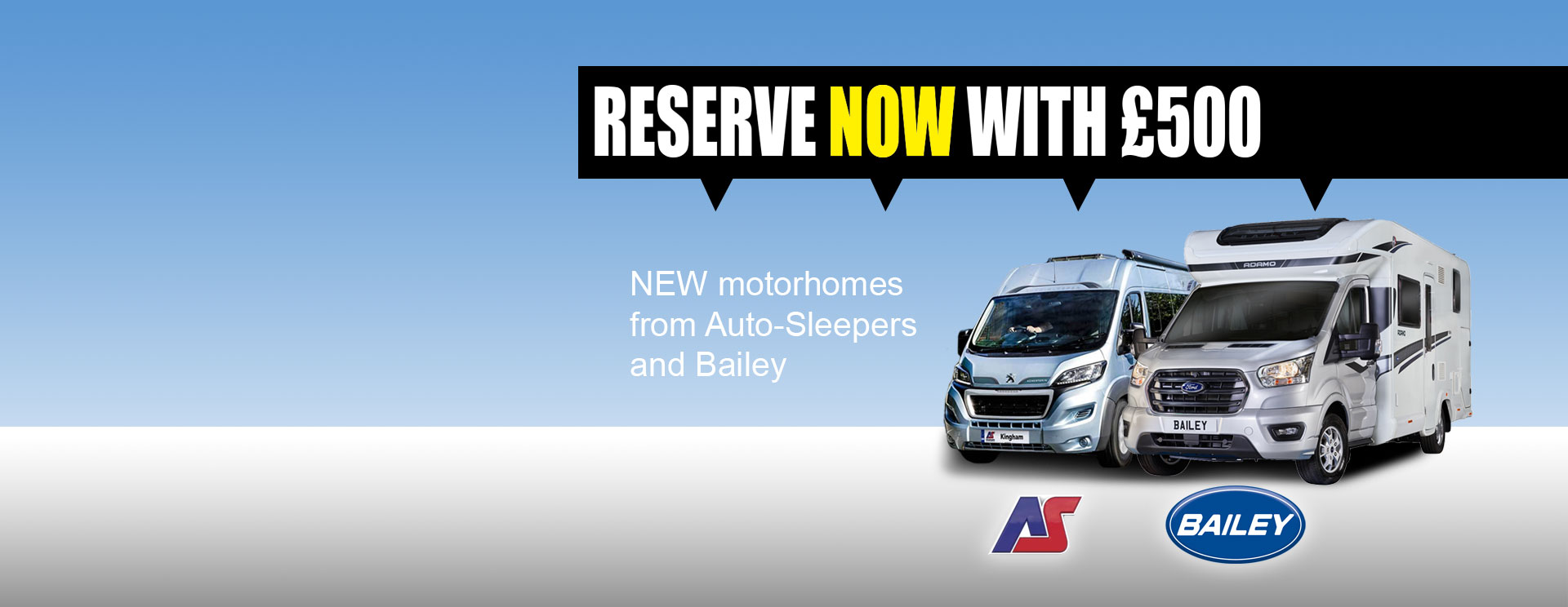 Reserve your Auto-Sleepers or Bailey Motorhome